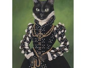 Black Cat Art Prints, Isabel, Black Cat Portrait, Cat Princess