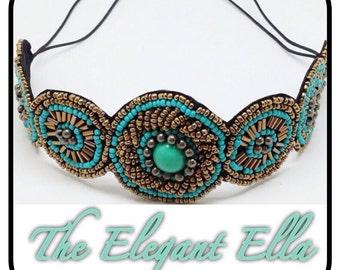 Adult turquoise beaded bohemian headband