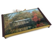 Mid Century Warming Tray, Covered Bridge, Autumn Scene, Country Photograph, Warm-O-Tray, Electric Warmer, Wood Bridge, Buffet Tray, Serving