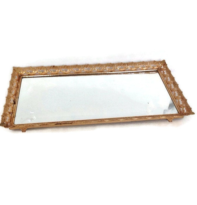 Vintage Mirrored Vanity Tray Gold by