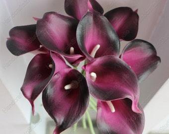 10pcs Plum Purple Callas Wedding Flowers Real Touch Calla Lily For Bridal  Bouquet DIY Flower