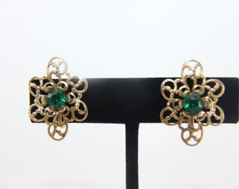 REDUCED!! Vintage Earrings Gold Tone Filigree Green Rhinestone