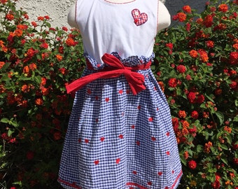 VTG Youngland Girl Dress Red White Blue Gingham Hearts Sz 5T
