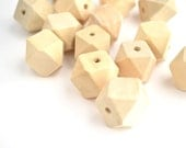 Wood Beads Unfinished Faceted 20mm - 10 pieces