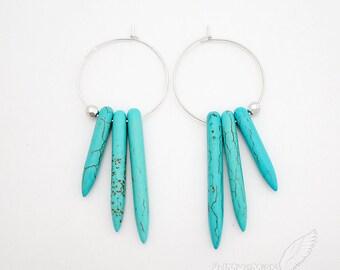 """Mini Hoop Earrings, Triple Howlite Spike Horns, Single Bead, 2.75"""" Boho Gift For Her Everyday Earrings"""