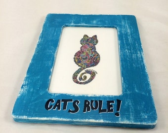 Cats Rule Drawing, Framed cat art, cat drawing