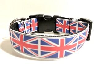 "Union Jack Dog Collar - 1"" Adjustable British Dog Collar"