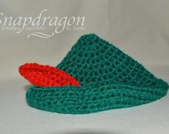 Peter Pan / Robin Hood crochet hat made to order, newborn photo prop