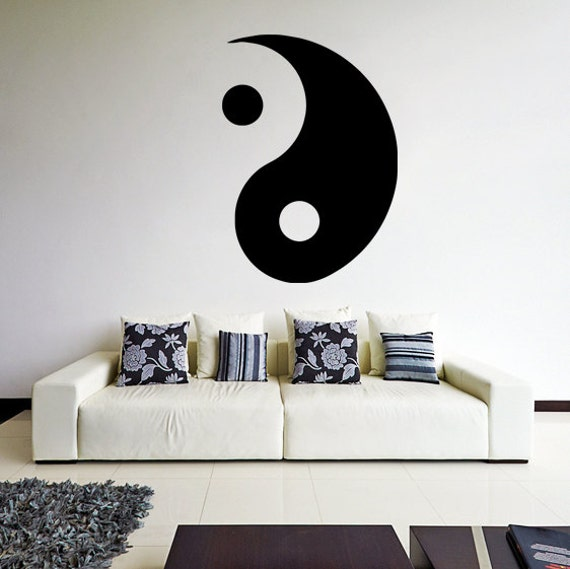 Vinyl wall decal yin and yang symbol taoism daoism art decor for Decoration murale yin yang