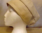 318 Biscotti Beige Solid 100% Linen Turban Snood Head Cover