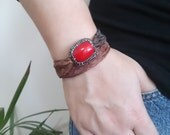 Wrap coral bracelet coral stone bracelet, coral bracelet, Silk wrap coral bracelet