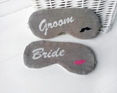 Bride & Groom Sleep Masks, set of 2, wife and husband wedding sleeping eye mask, bridal shower, white gift for couple, his and hers marriage