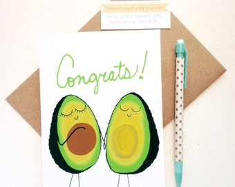 Baby Shower cards - Avocado - Baby Congratulations Pregnancy Gift - Having a Baby - Woman having a baby - Gender Neutral Baby Shower