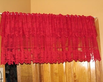 Double Red Window Valance