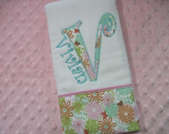 Adorable Personalized Baby Girl  Burp Cloth