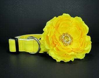 Yellow  Dog Collar with flower set  (Mini,X-Small,Small,Medium ,Large or X-Large Size)- Adjustable