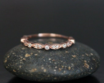 Stackable 14k Rose Gold and Diamond Wedding Band - Flush Sits with any of our Rings