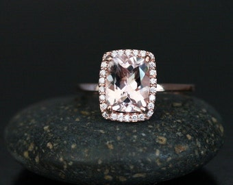 Morganite Engagement Ring Cushion Morganite 9x7mm and Diamond Halo with 14k Rose Gold band