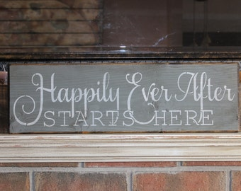 wooden sign, Happily ever after starts here, wedding sign, country, rustic, quote sign