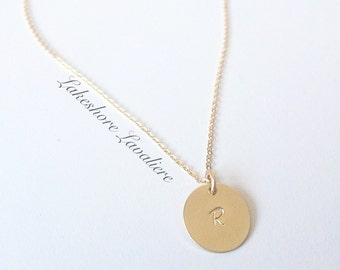 SALE- Gold Hand Stamped Initial Necklace
