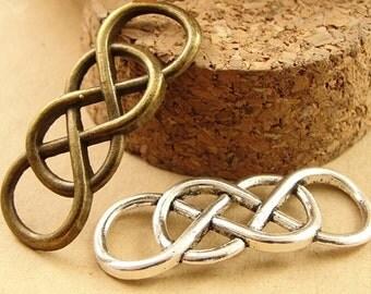 15pcs 12*32mm Double Infinity charms,Antique bronze,Silver  Double '8' symbol Charm Pendant Connector