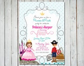 Custom Princess & Pirate Birthday Party 5x7 Invitation