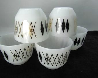Vintage Federal Glassware Atomic Black Diamond Pattern Custard Cups
