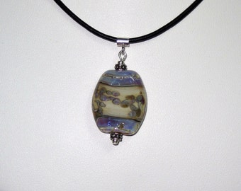 purple glass bead necklace on leather