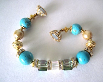 Bracelet.  turquoise and gold