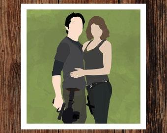 Glenn & Maggie - The Walking Dead Giclee Print