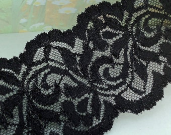 1yd Stretch Lace 3 1/2 inch wide Black Elastic Ribbon Floral Design Trim Elastic Stretch Lace Headbands Elastic Lace by the yard cute
