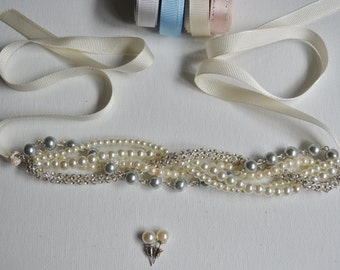 3 Pairs of Rhinestone and Pearl Bridesmaid Bracelet  with Pearl Earrings