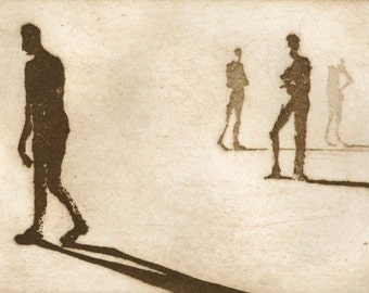 "Haunting Figure Dark Creepy Shadows Spooky Hand Pulled Intaglio Fine Art Print Aquatint Sugarlift ""Paths V"""