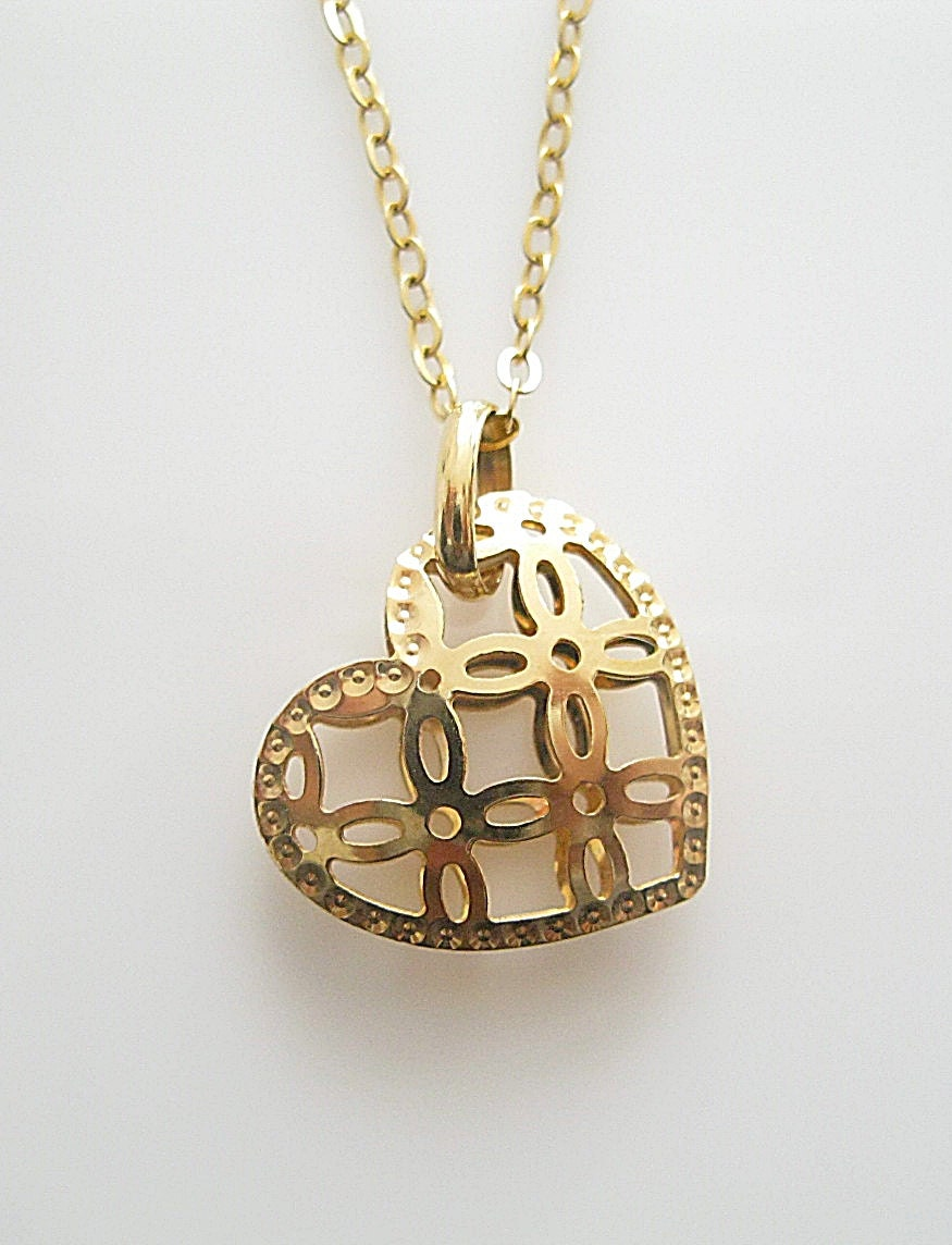 vintage italian 9k gold pendant on 9k gold necklace