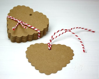 Heart Gift Tags, Brown Kraft Paper, 25 pieces, 6.5 cm x 6.0 cm