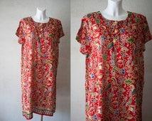 Red  abstract multicolor print  Kaftan tunic dress / Hippie boho Festival woman knee length dress/ beach dress/house robe/