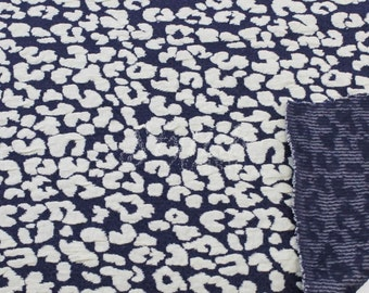 Navy Off White Leopard Jacquard Knit Jacquard Fabric - 1 Yard Style 473