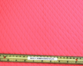 Hot Pink Neon Quilt Knit Jersey Stretch Fabric by the Yard - 1 Yard Style 471
