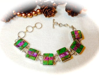 Radiant Green and Purple Copper Turquoise Bracelet .925 Sterling Silver 7 to 8 1/2 inches