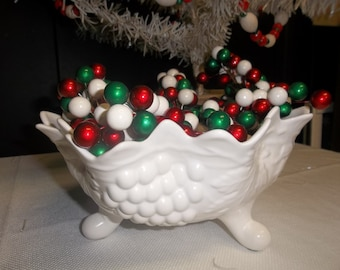 CLEARANCE! was 22.00 Vintage Scalloped Ceramic White Fruit Bowl with Grape Design, 3 Footed Bowl, Painted White Bowl T