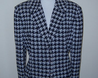 St. John Collection by Marie Gray Black White Hounds Tooth Jacket 14 Large Houndstooth Checked