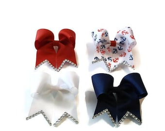 Set of 4 Nautical Print Mini Cheer Bows (3 inches) **Red, White, Blue, Anchor Print**