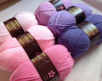 Granny stripe crochet blanket kit 'Sweet Pea' - pink and lilac - various sizes