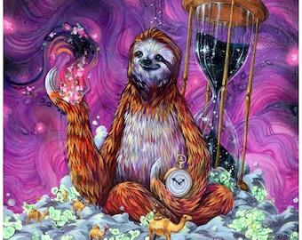 """Sloth Art Print - Sloth Artwork - """"Time Master Poop Sloth"""" by Black Ink Art"""
