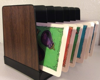Vintage Faux Wood Metal File, Metal Faux Wood File, Metal File Sorter, Faux Wood Metal Industrial  6 Slot File Sorter