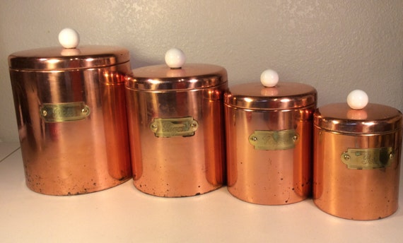 Vintage copper kitchen canister set by vintagepickin on etsy for Kitchen set vintage