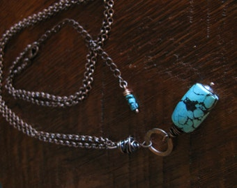 Turquoise & Copper Pendant, Necklace,Hand Forged, Hand Cut, Boho Chic Toniraecreations
