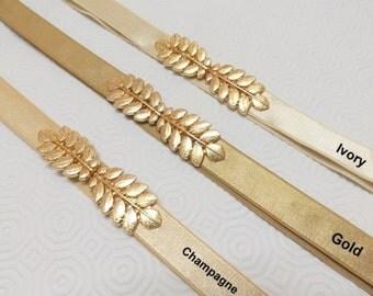 Elastic waist belt. Gold leaf belt. Grecian belt.  Bridal/ Bridesmaid Waist Belt.