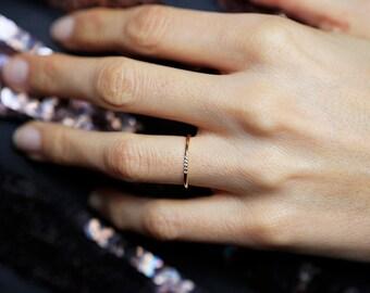 Thin Gold Diamond Ring, Pave Diamond Band,  Thin Diamond Band, 18k solid Gold