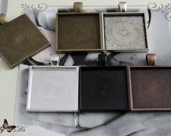 50- Square Blank Pendant Trays- 1 inch 25mm Square Pendant Blanks- 5 Colors to Choose From.